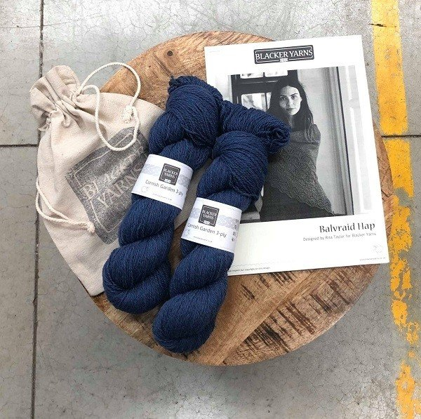 Balvraid Hap Project Kit Blue - Blacker Yarns