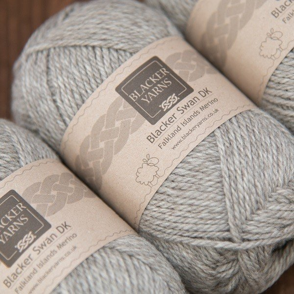Blacker Swan natural pale grey Stone DK knitting yarn