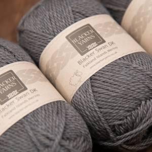 Blacker Swan over-dyed Dolphin dark grey DK knitting yarn