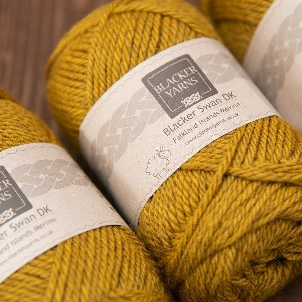 Blacker Swan over-dyed Gorse gold DK knitting yarn
