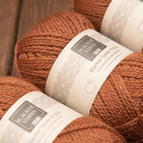 Blacker Yarns Blacker Swan over-dyed Hawkweed dark orange 4-ply knitting yarn