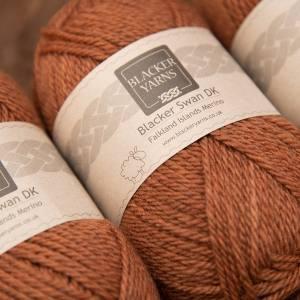 Blacker Swan over-dyed Hawkweed dark orange DK knitting yarn