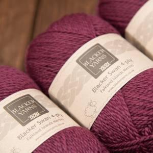 Blacker Yarns Blacker Swan over-dyed Mountain Berry plum 4-ply knitting yarn
