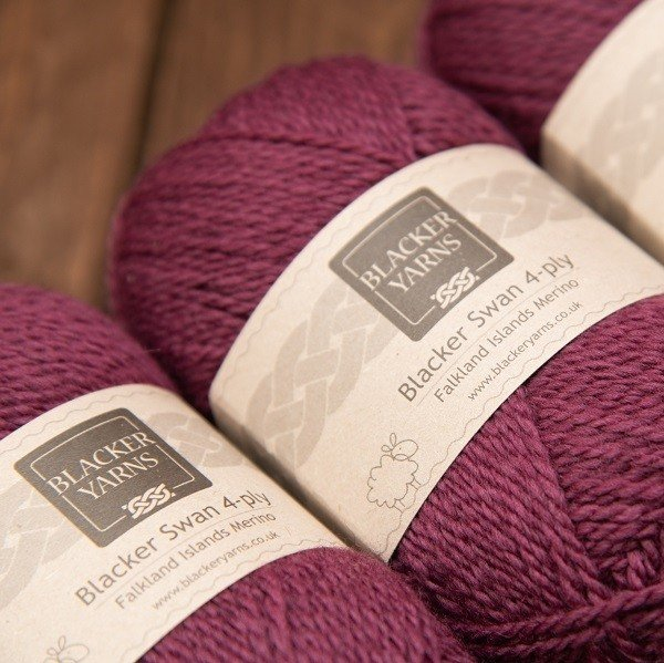 Blacker Yarns Blacker Swan over-dyed Mountain Berry plum 4-ply knitting yarn