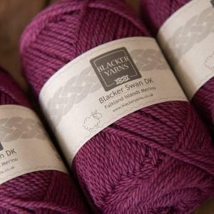 Blacker Swan over-dyed Mountain Berry plum DK knitting yarn