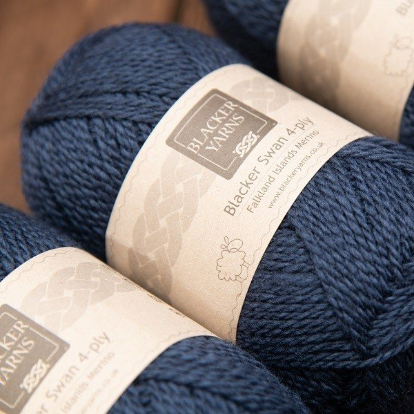 Blacker Swan over-dyed Navy 4-ply knitting yarn