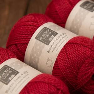 Blacker Swan over-dyed Pimpernel red 4-ply knitting yarn