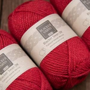 Blacker Swan over-dyed Pimpernel red DK knitting yarn