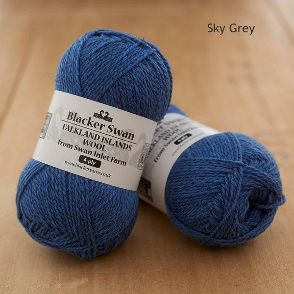 Blacker Swan over-dyed Sky-grey deep blue 4-ply knitting yarn