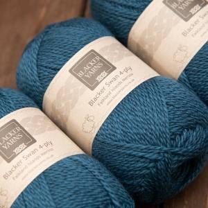 Blacker Swan over-dyed Teal deep turquoise 4-ply knitting yarn