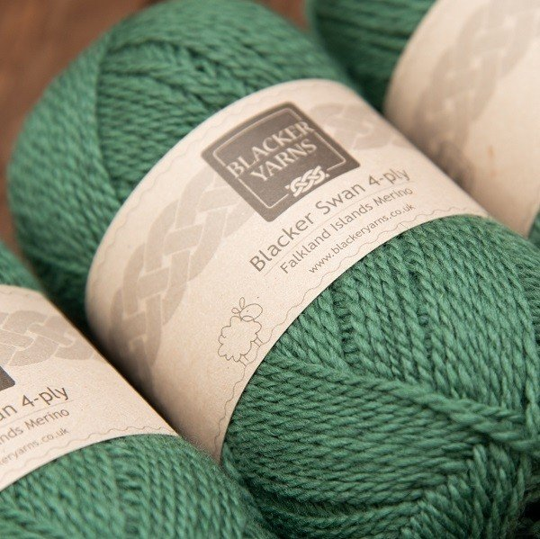 Blacker Swan over-dyed Tussac forest green 4-ply knitting yarn