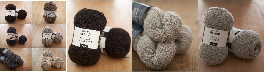 Blacker Yarns Black and Grey Knitting Yarn