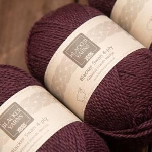 Blacker Yarns Blacker Swan over-dyed Blueberry dark plum 4-ply knitting yarn