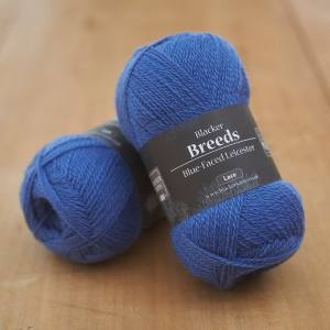 Blacker Yarns Pure Blue-faced Leicester Laceweight 2-ply Blue Tang mid blue dyed yarn