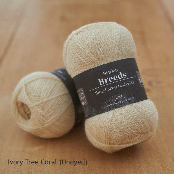 Blacker Yarns Pure Blue-faced Leicester Laceweight 2-ply Ivory Tree Coral undyed cream yarn