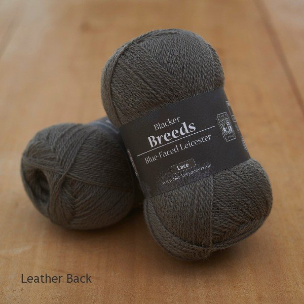 Blacker Yarns Pure Blue-faced Leicester Laceweight 2-ply Leather Back dark grey dyed yarn