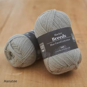 Blacker Yarns Pure Blue-faced Leicester Laceweight 2-ply Manatee pale grey dyed yarn