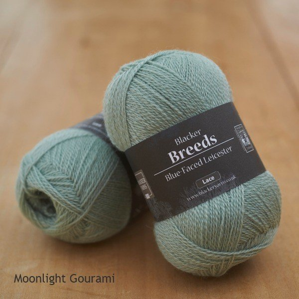 Pure Blue-faced Leicester Laceweight 2-ply Moonlight Gourami pale teal dyed yarn