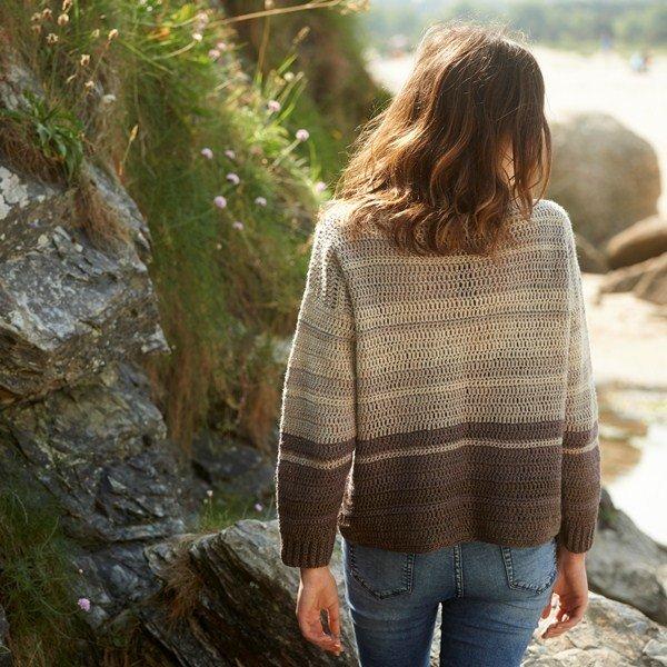 Cawsand Bay Jumper Crochet pattern Back - Blacker Yarns