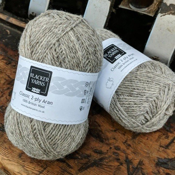 Classic British 2-ply Aran natural Grey yarn