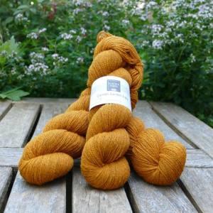 Cornish Garden dyed Cotehele golden orange 3-ply yarn