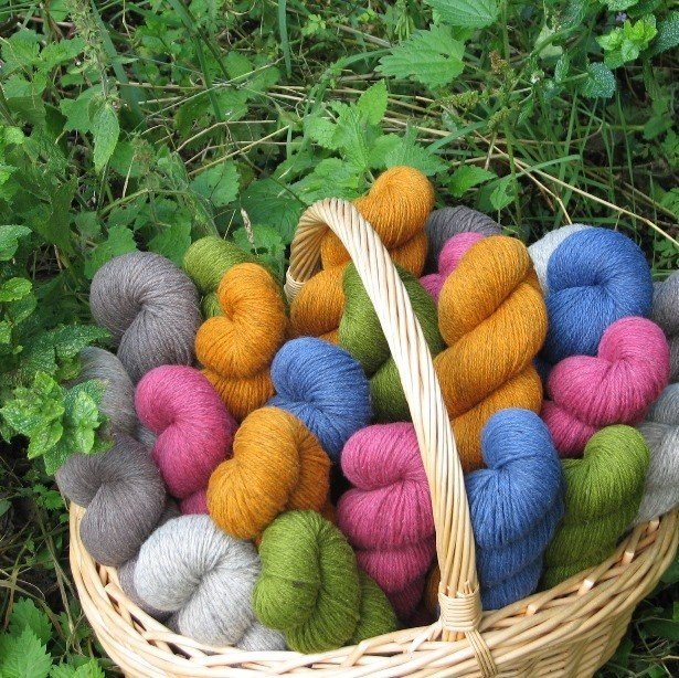 Cornish Garden undyed Hepworth 3 ply yarn group in basket - Blacker Yarns