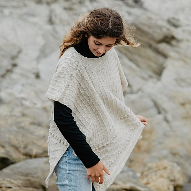 Cove Poncho Blasker Yarns Knitting Pattern
