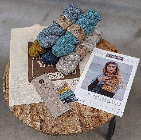 Cove Surf Small Scarf Project Kit in colore work - Blacker Yarns