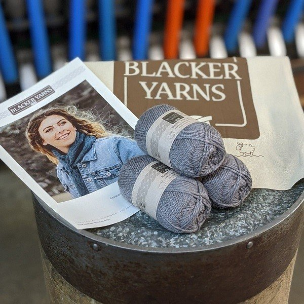 Crochet Sea Scarf Project Kit Pebble - Blacker Yarns