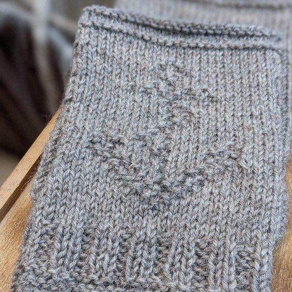 Guernsey Fingerless Mitts Close Up 2 - Blacker Yarns