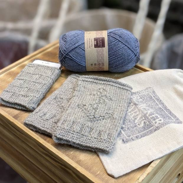 Guernsey Fingerless Mitts and Phone Cover Project Kit Pale Blue - Blacker Yarns