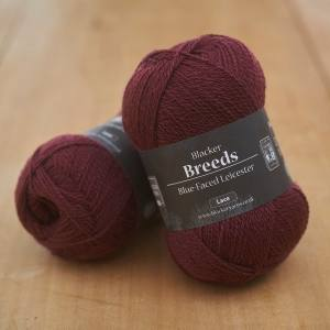 Blacker Yarns Pure Blue-faced Leicester Laceweight 2-ply Lightning Clownfish maroon dyed yarn