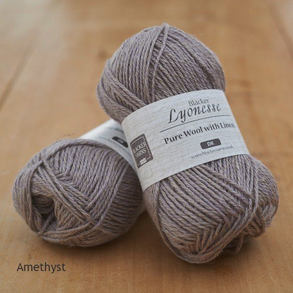 Lyonesse over-dyed Amethyst pale purple DK yarn