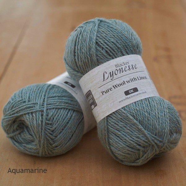 Lyonesse over-dyed Aquamarine pale turquoise DK yarn