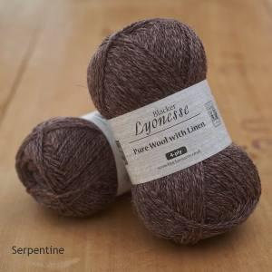 Lyonesse over-dyed Serpentine deep plum 4-ply yarn