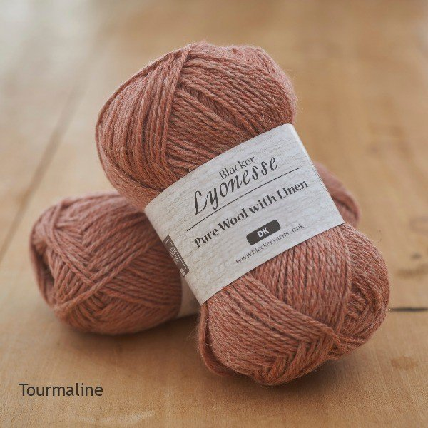 Lyonesse over-dyed Tourmaline peach pink DK yarn