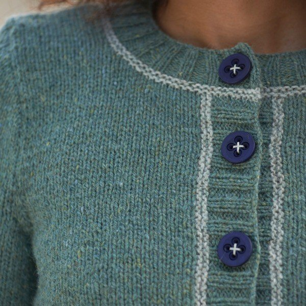 Macaulay Cardigan Free Pattern Green with Blue Buttons - Blacker Yarns