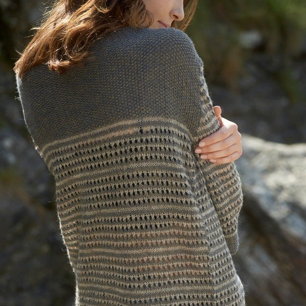 Polzeath Cardigan Back View - Blacker Yarns