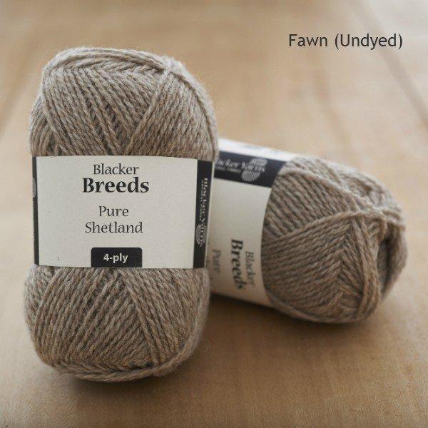 Pure Shetland 4-ply Fawn undyed knitting yarn