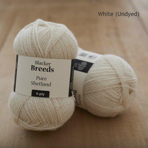 Pure Shetland 4-ply White undyed knitting yarn