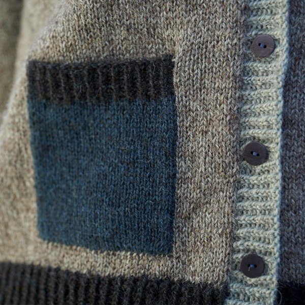 Stannum Cardigan Pocket Closeup - Blacker Yarns