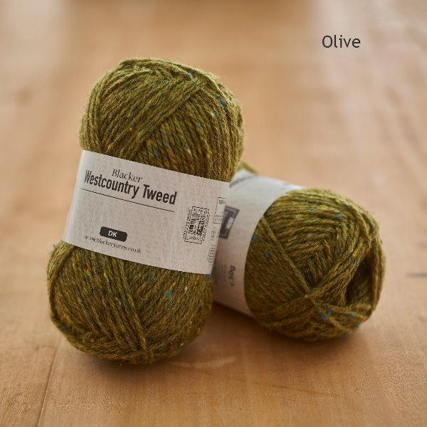 Westcountry Tweed heathered dyed olive DK knitting yarn