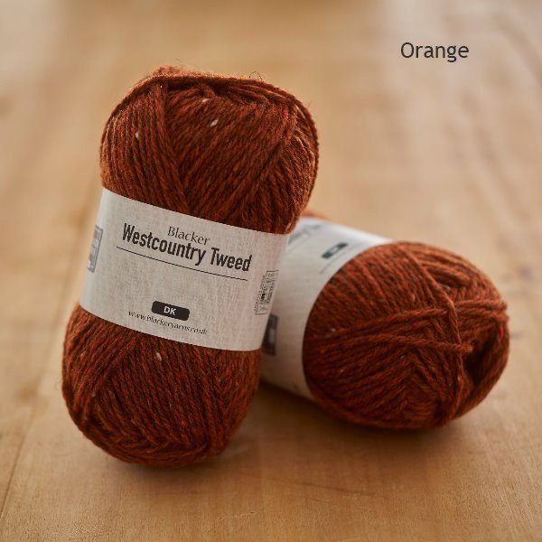 Westcountry Tweed heathered dyed orange DK knitting yarn