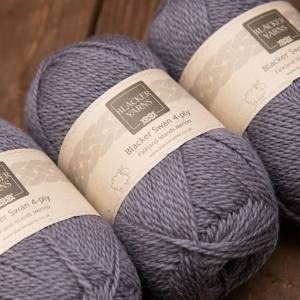 Blacker Swan over-dyed Lavender purple 4-ply knitting yarn